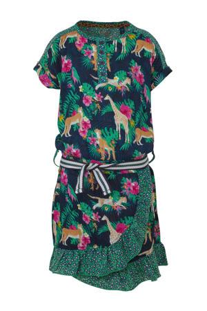 jurk Acey met all over print en volant groen/donkerblauw/fuchsia