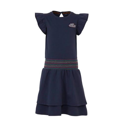 Quapi jersey jurk Amanda en borduursels donkerblau