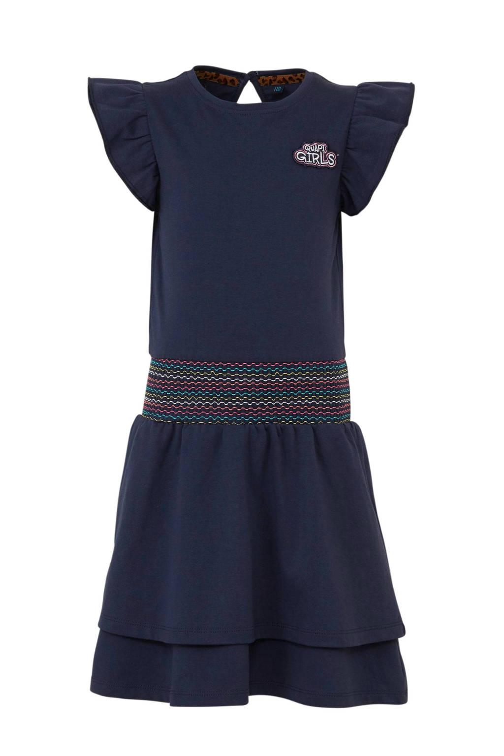 Quapi jersey jurk Amanda en borduursels donkerblauw, Donkerblauw
