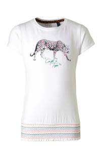 Quapi T-shirt Anja met printopdruk wit/zwart/roze, Wit/zwart/roze