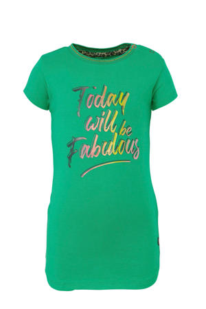 T-shirt Beliz met contrastbies en glitters groen/roze