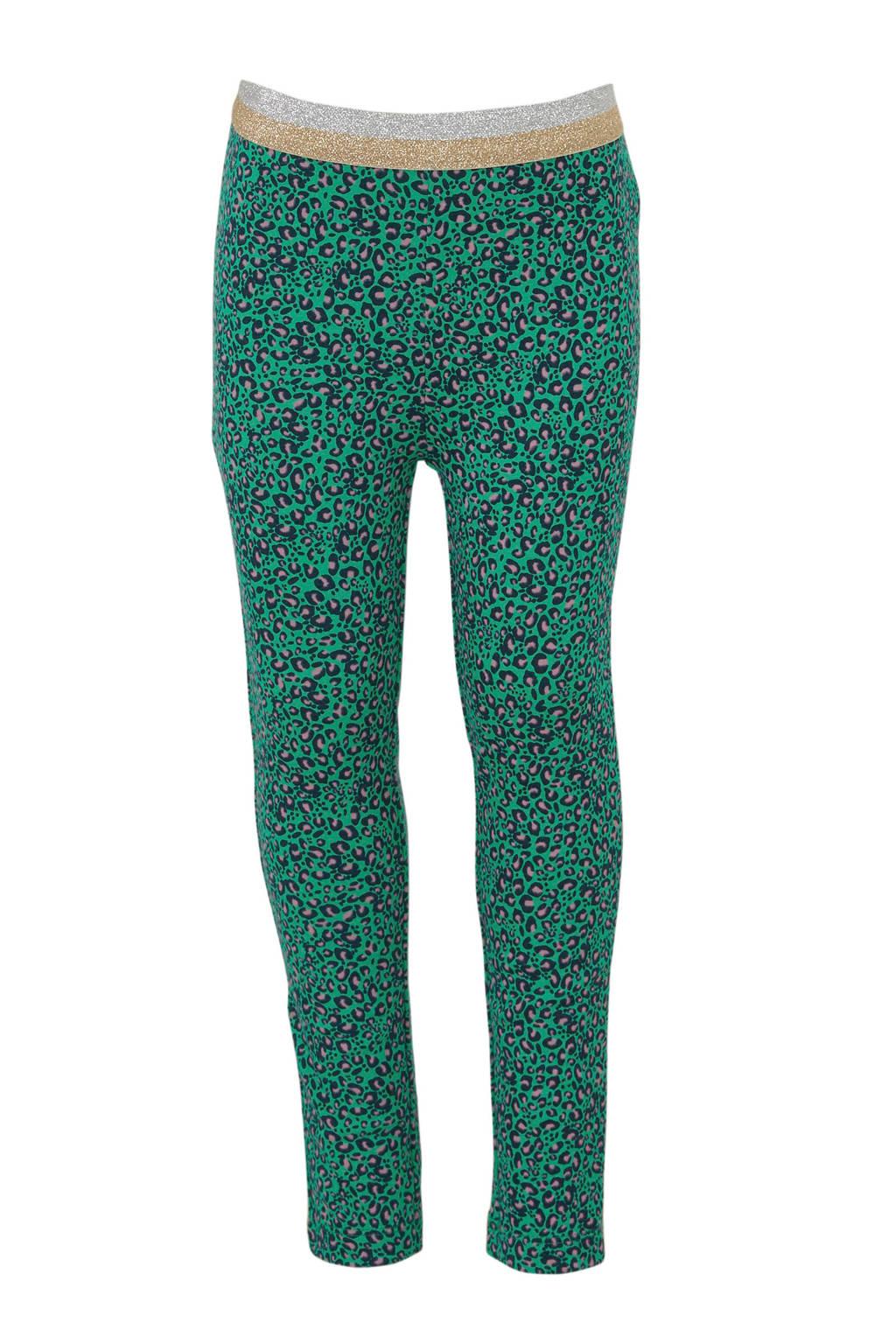 Quapi legging Annebel met panterprint groen/donkerblauw, Groen/donkerblauw