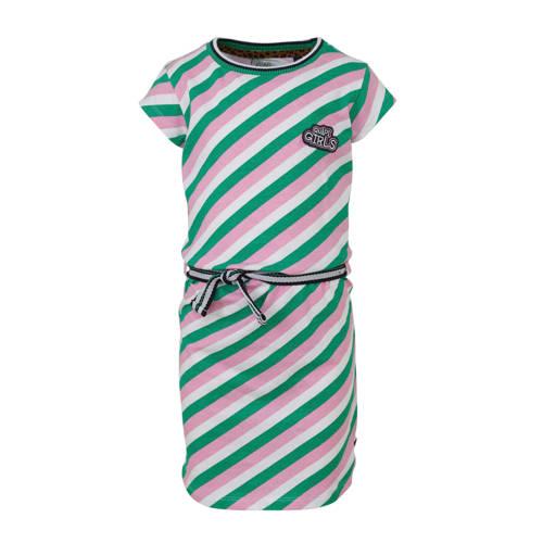 Quapi gestreepte T-shirtjurk Aafje lichtroze/groen