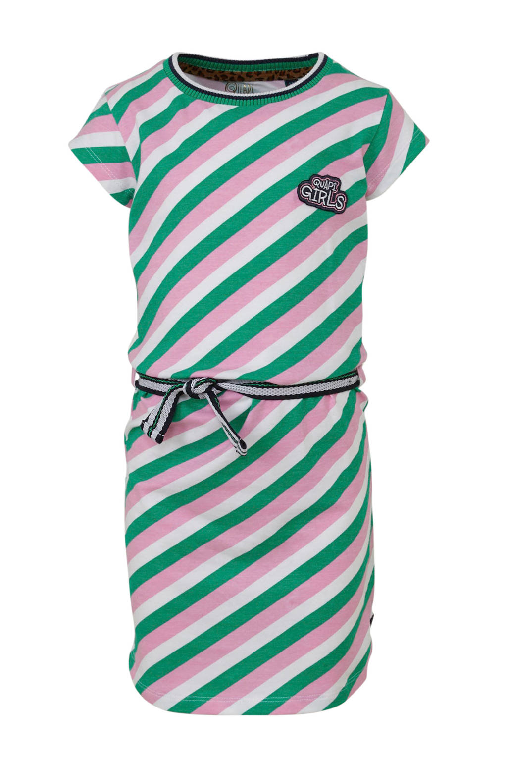 Quapi gestreepte T-shirtjurk Aafje lichtroze/groen/wit, Lichtroze/groen/wit