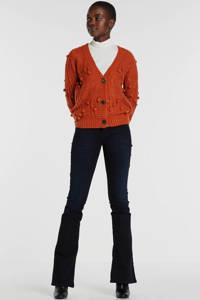 SisterS Point grofgebreid vest Hace met open detail roest, Roest