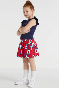 Quapi jersey jurk Wieke met all over print en ruches donkerblauw/rood, Donkerblauw/rood
