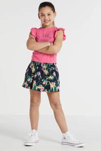 Quapi jersey jurk Wieke met all over print en ruches roze/zwart/groen, Roze/zwart/groen