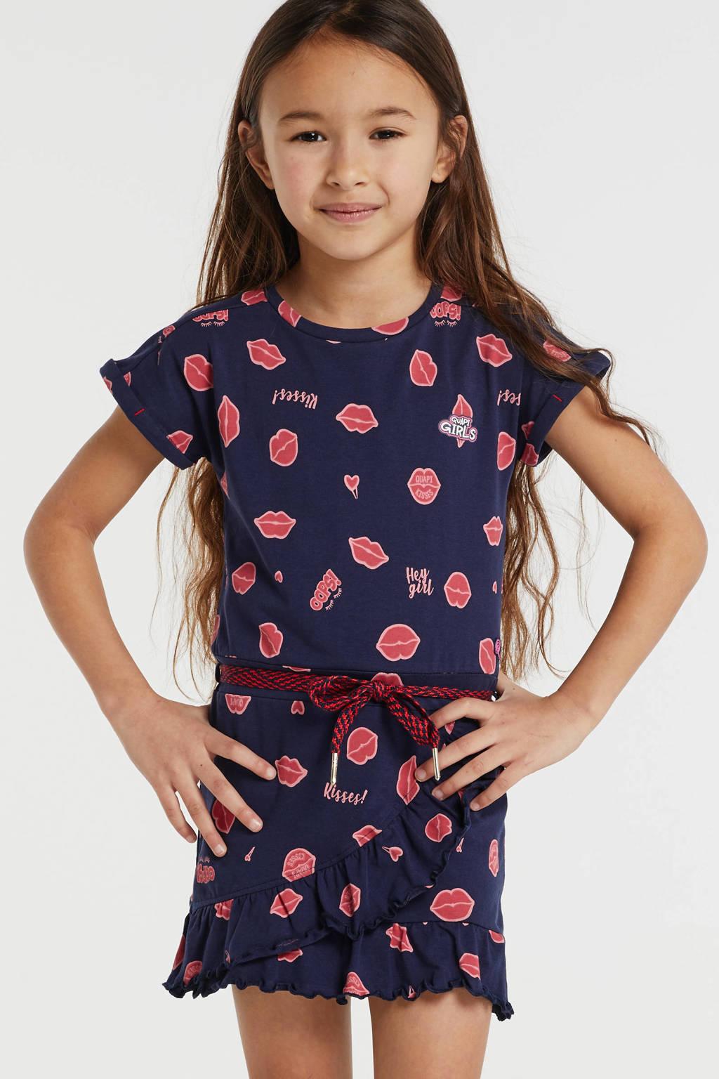 Quapi jersey jurk Wiesje met all over print en ceintuur donkerblauw/rood, Donkerblauw/rood