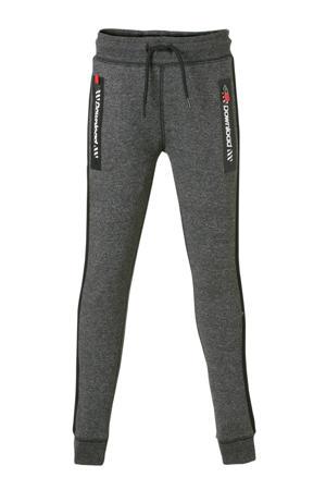 Here & There   gemêleerde joggingbroek met zijstreep antraciet/zwart