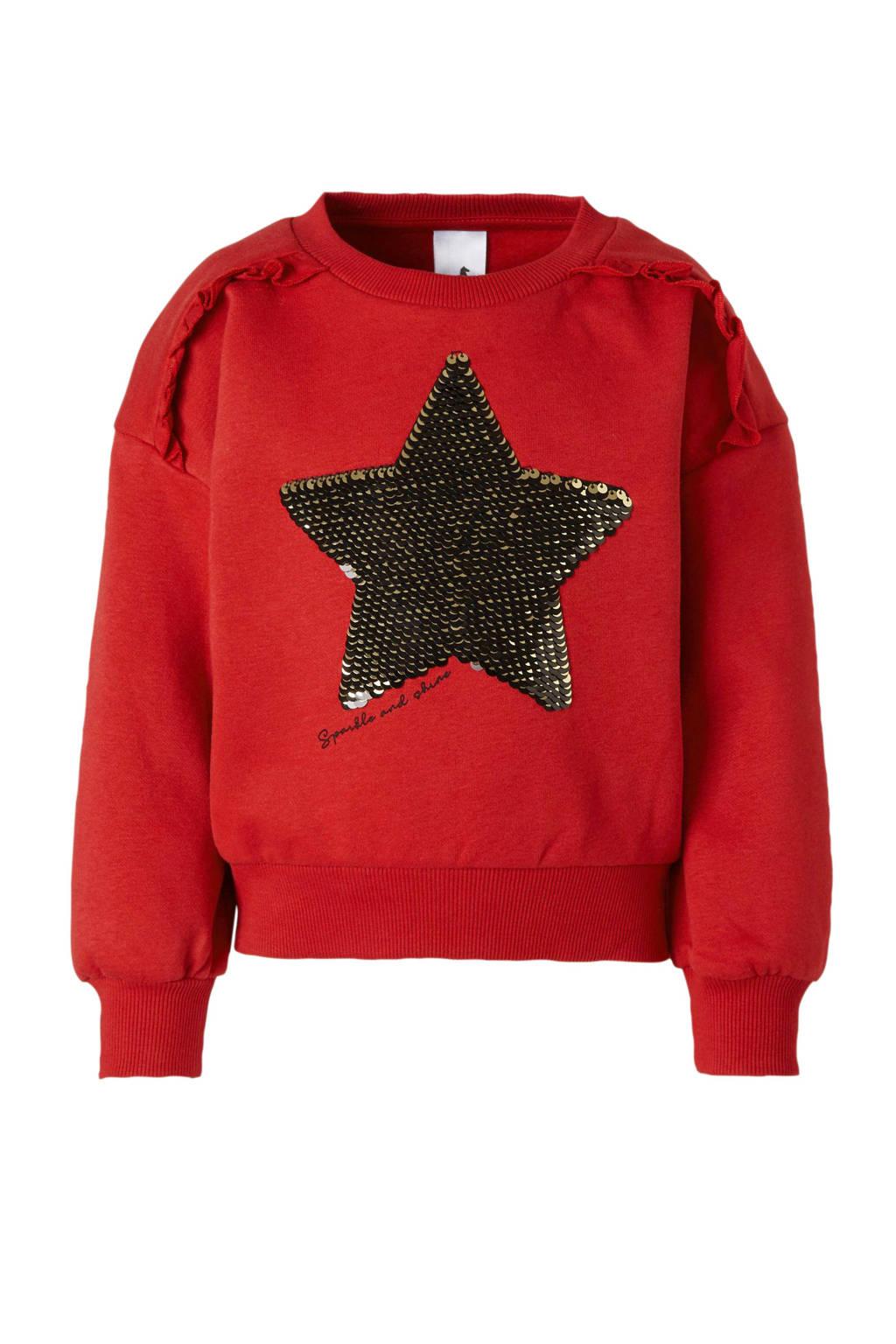 C&A Palomino sweater met printopdruk en pailletten rood, Rood