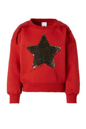 Palomino sweater met printopdruk en pailletten rood
