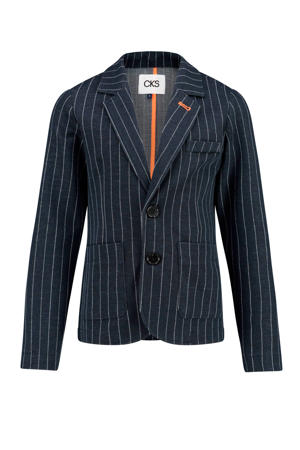 colbert Boyd met krijtstreep donkerblauw/wit/oranje