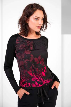 gebloemde top zwart/roze