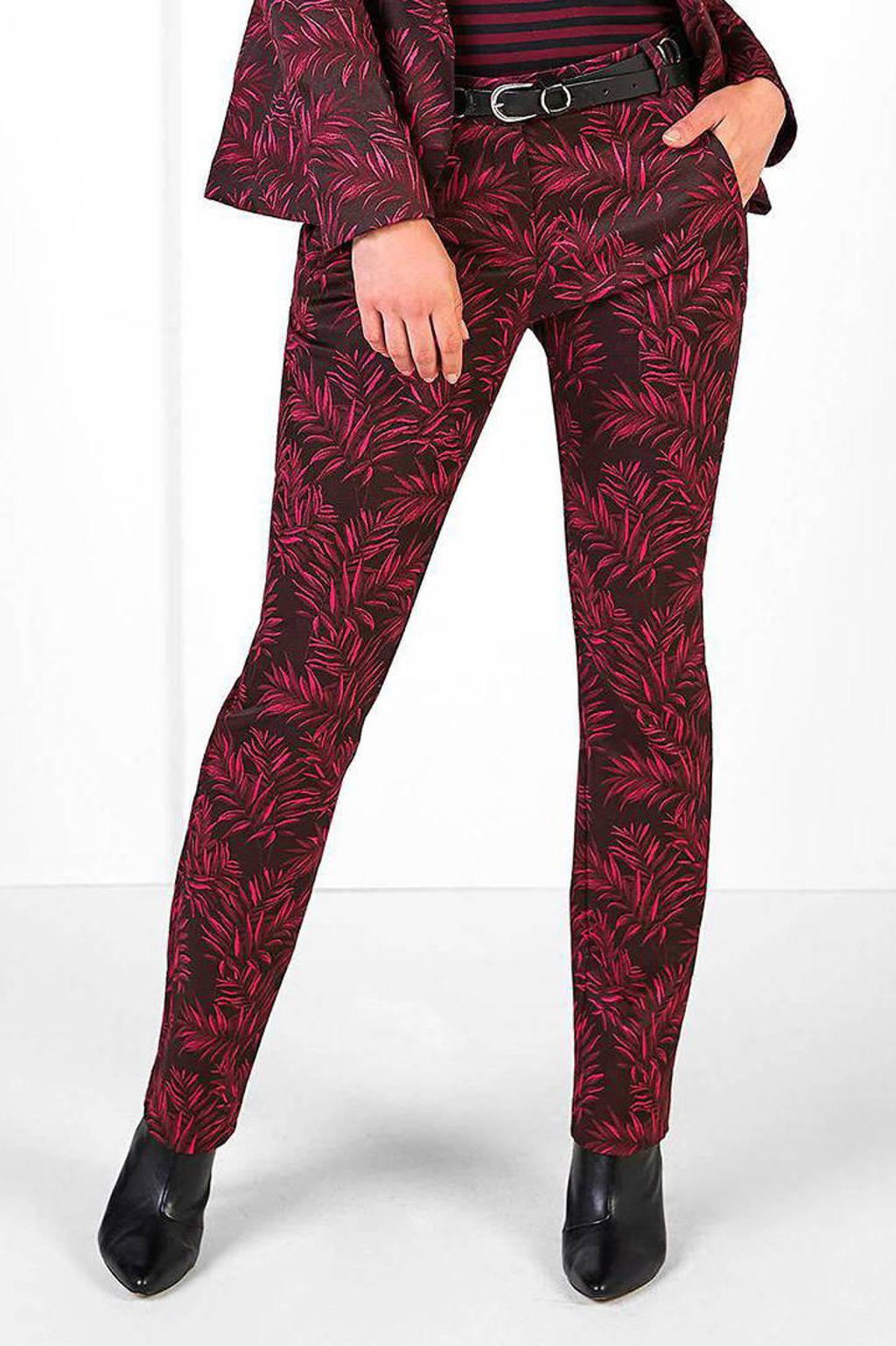 Expresso flared pantalon met bladprint bordeaux/roze, Bordeaux/roze