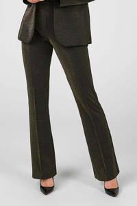Expresso high waist flared pantalon goud/zwart, Goud/zwart