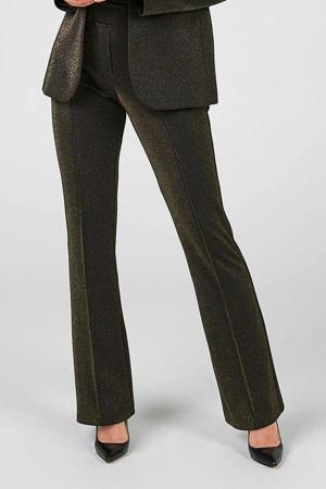 high waist flared pantalon goud/zwart