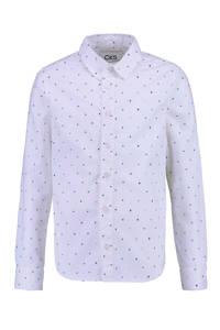 CKS KIDS overhemd Botan met all over print wit/blauw, Wit/blauw