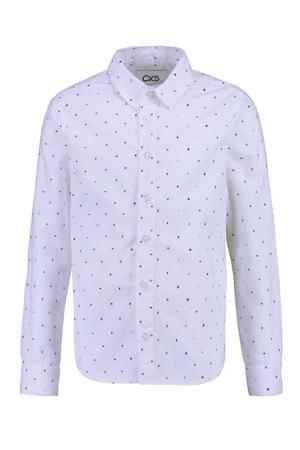 overhemd Botan met all over print wit/blauw