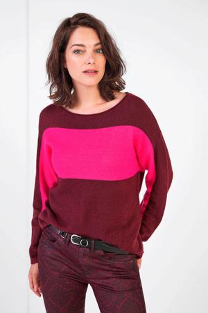 fijngebreide trui bordeaux/roze