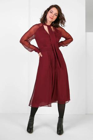 semi-transparante maxi jurk met plooien bordeaux
