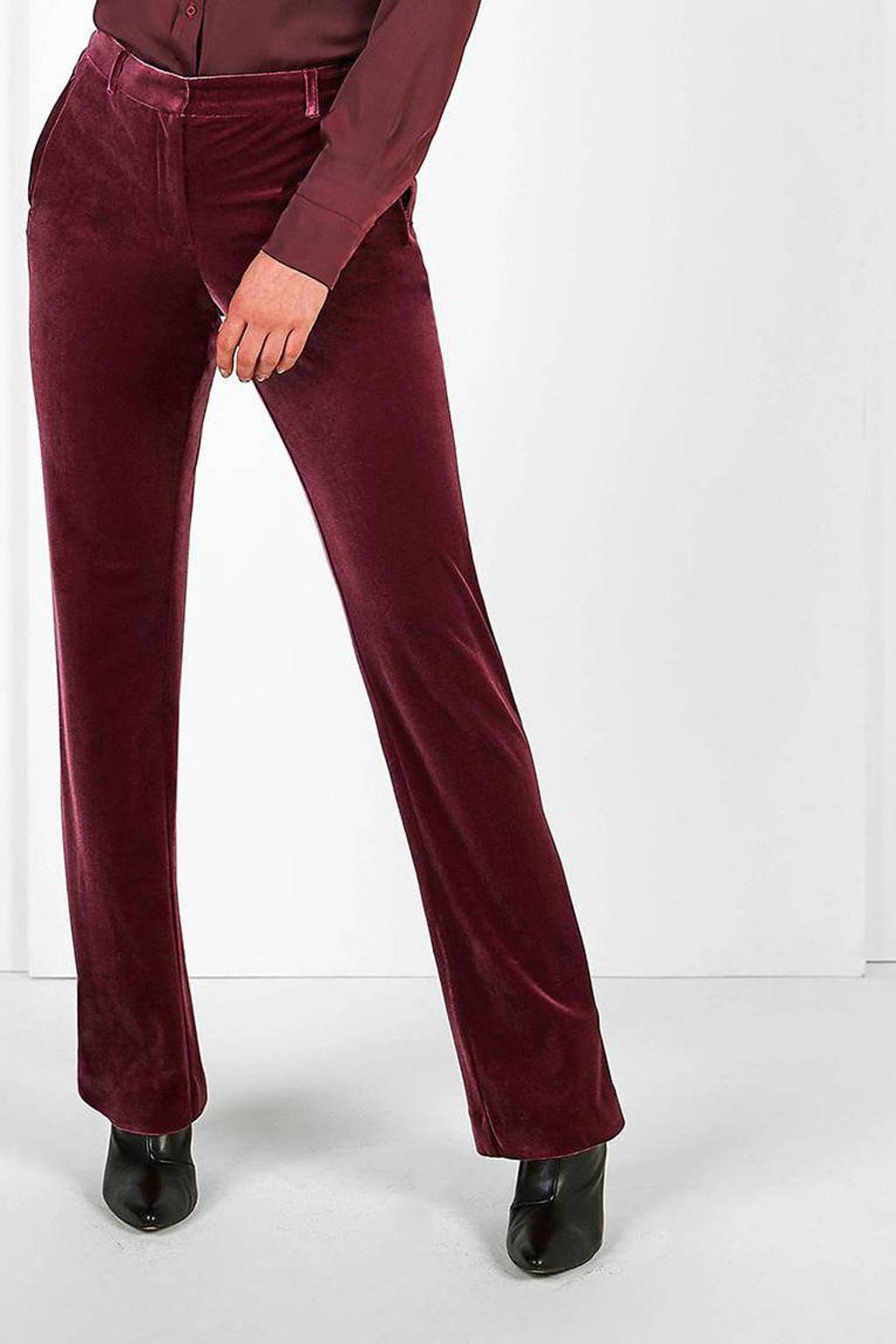 Expresso fluwelen flared pantalon bordeaux, Bordeaux