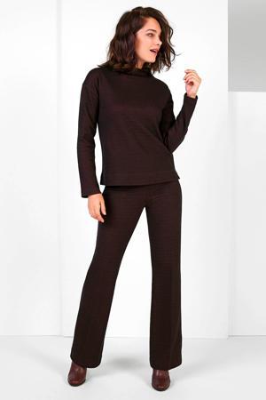 flared broek met jacquard zwart/roze
