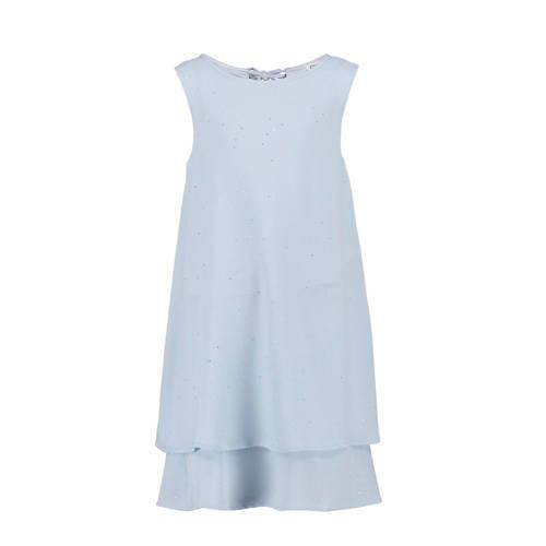 CKS KIDS jurk Doudou met ruches lichtblauw/zilver