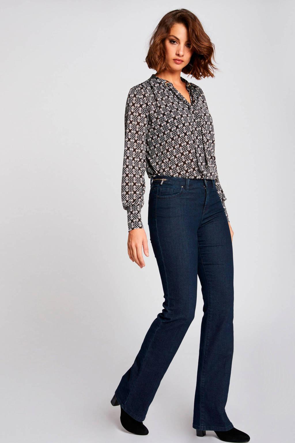 Morgan top met all over print zwart/wit/bruin, Zwart/wit/bruin
