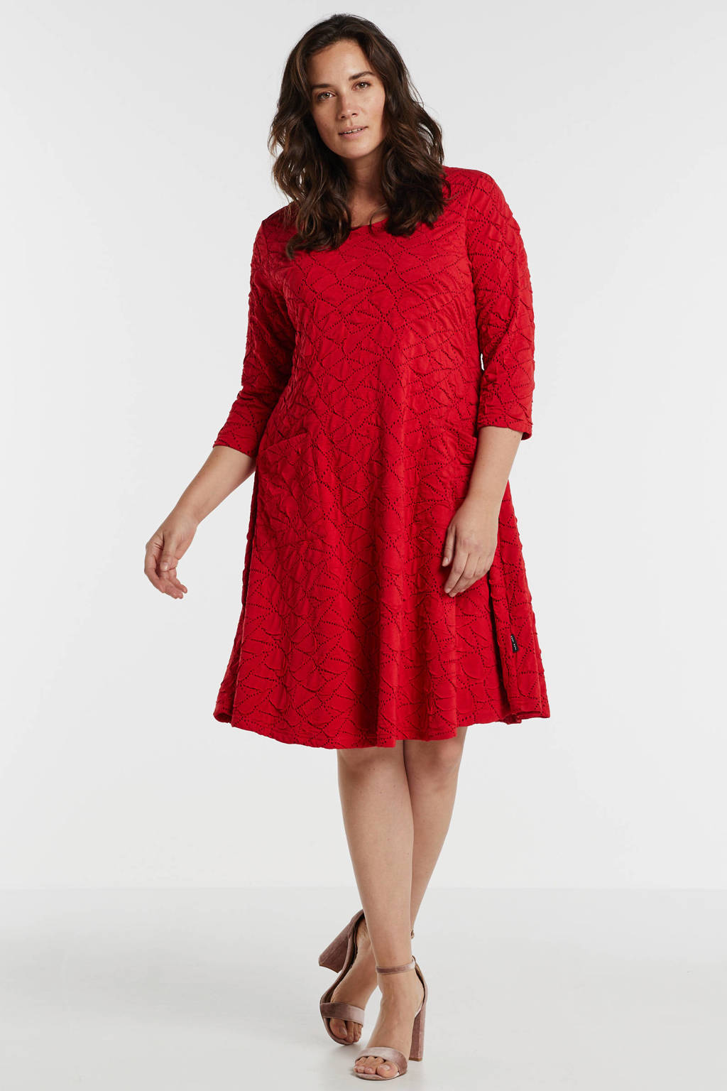 PONT NEUF jersey jurk Kitty met all over print en textuur rood, Rood