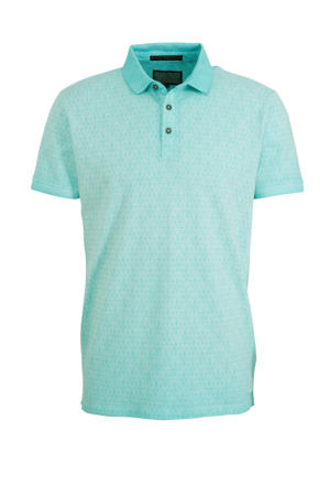 slim fit polo Rijkman met all over print mintgroen