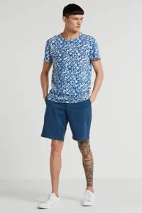 Amsterdenim T-shirt Storm met all over print blauw, Blauw
