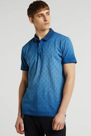 slim fit polo Rijkman met all over print blauw