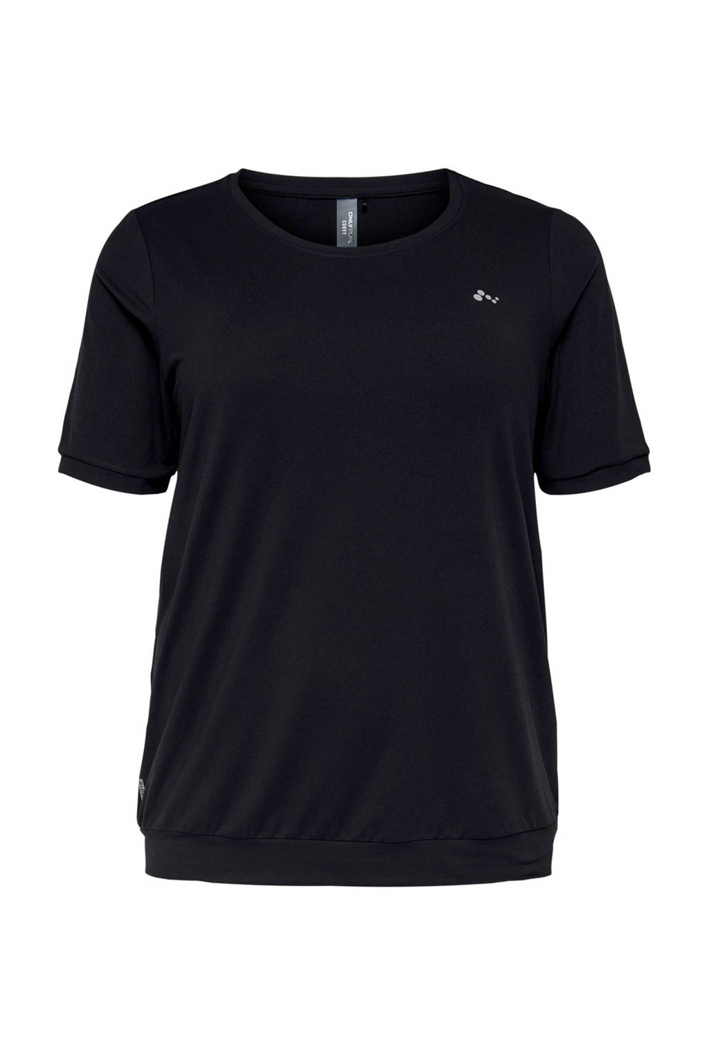 Only Play Curvy sport T-shirt zwart, Zwart