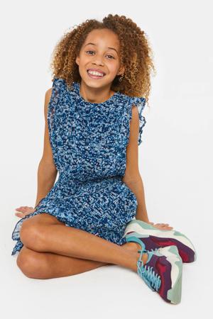 jurk met all over print en volant blauw