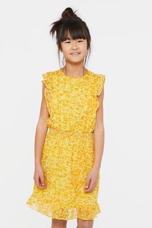 jurk met all over print en volant kerrie geel