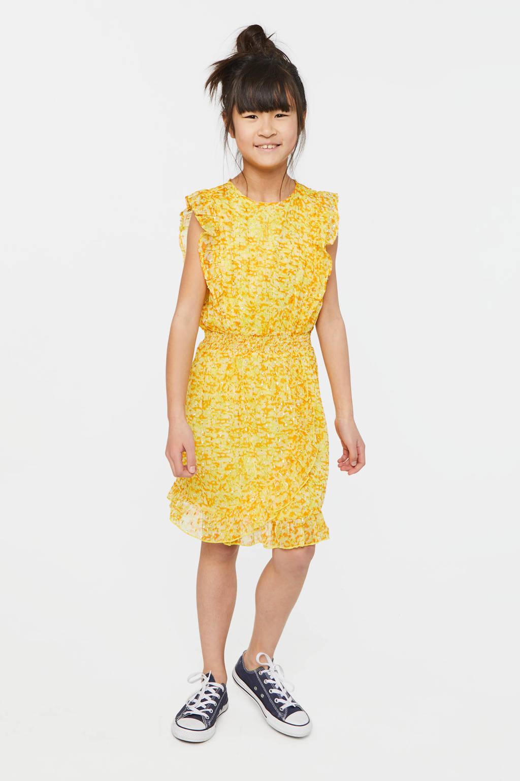 WE Fashion jurk met all over print en volant kerrie geel, Kerrie geel