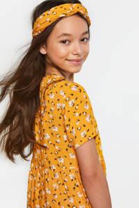 WE Fashion jurk met bloemenprint en volant geel/wit, Geel/wit