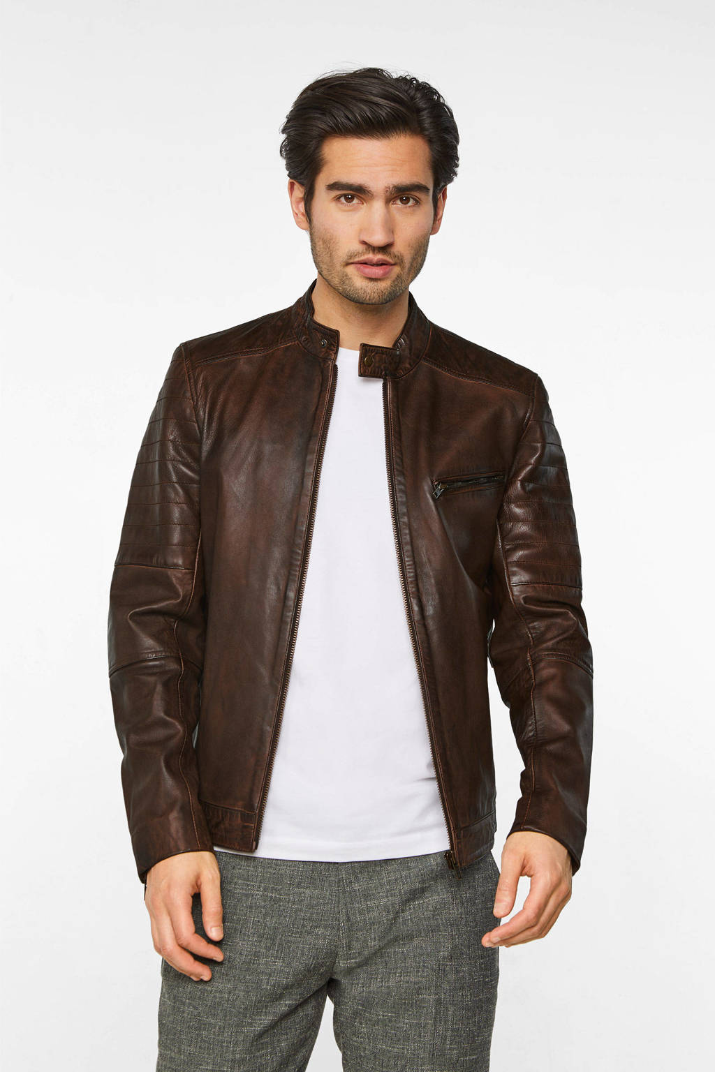 WE Fashion leren jack leather brown, Leather Brown