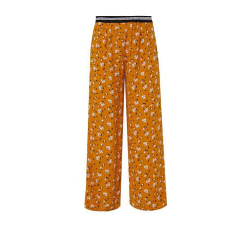WE Fashion gebloemde loose fit broek kerriegeel