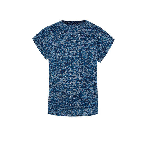WE Fashion top met all over print donkerblauw