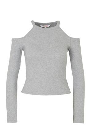 open shoulder top grijs