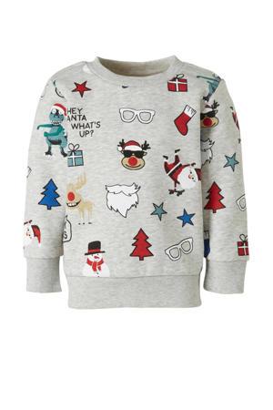 Palomino sweater met all over print grijs melange/multi