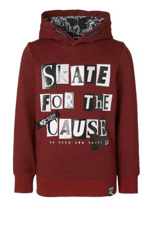Here & There hoodie met printopdruk donkerrood/zwart/wit