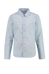 CKS KIDS overhemd Botan met all over print lichtblauw/donkergroen/geel, Lichtblauw/donkergroen/geel