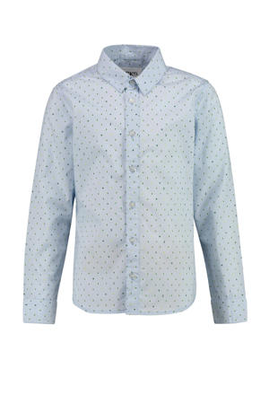 overhemd Botan met all over print lichtblauw/donkergroen/geel