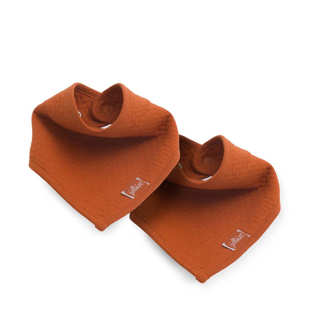 Jollein slab bandana Brick velvet rust - set van 2, Bruin/brique