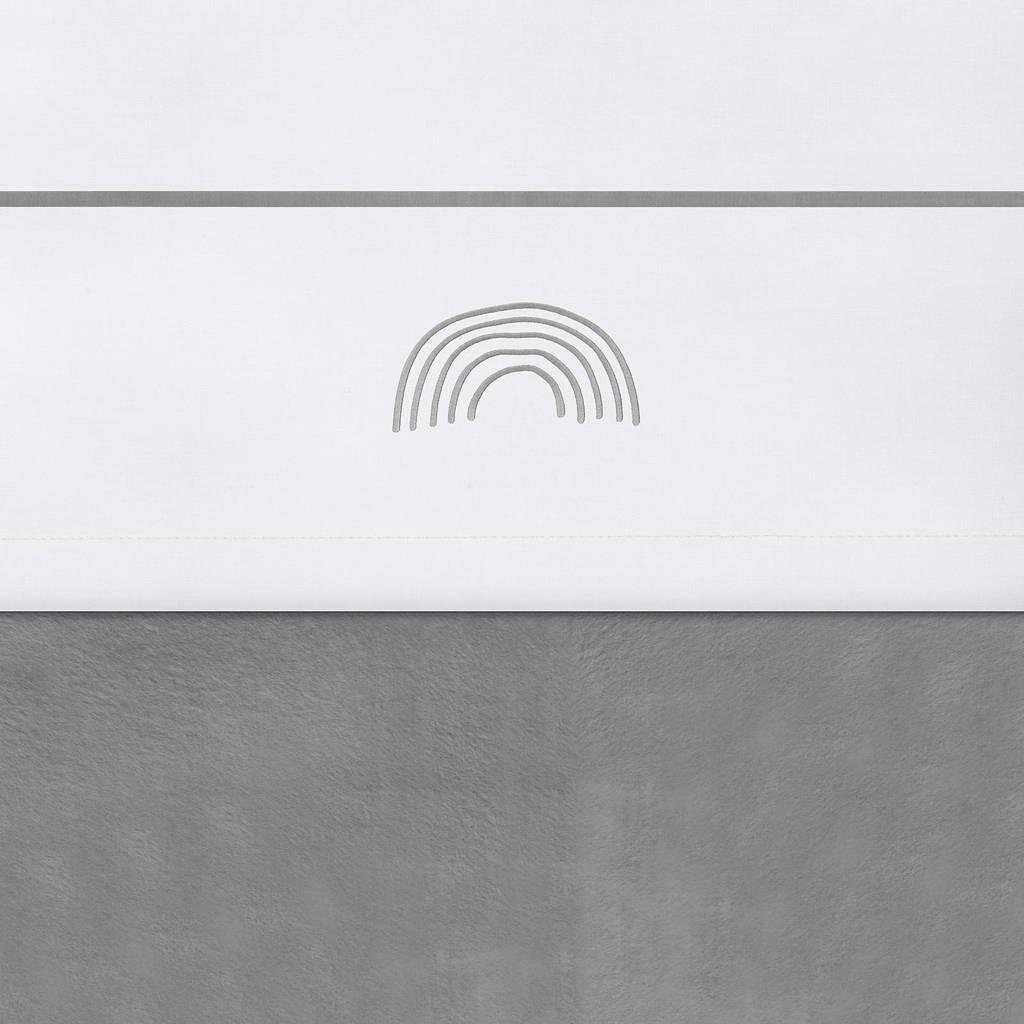 Jollein baby ledikantlaken 120x150 cm Rainbow grey, Wit/grijs