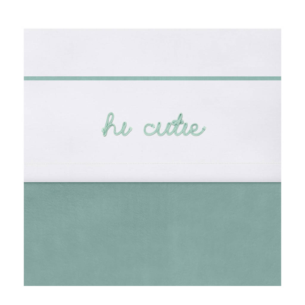 Jollein beby ledikantlaken 120x150 cm Hi cutie ash green, Wit/groen
