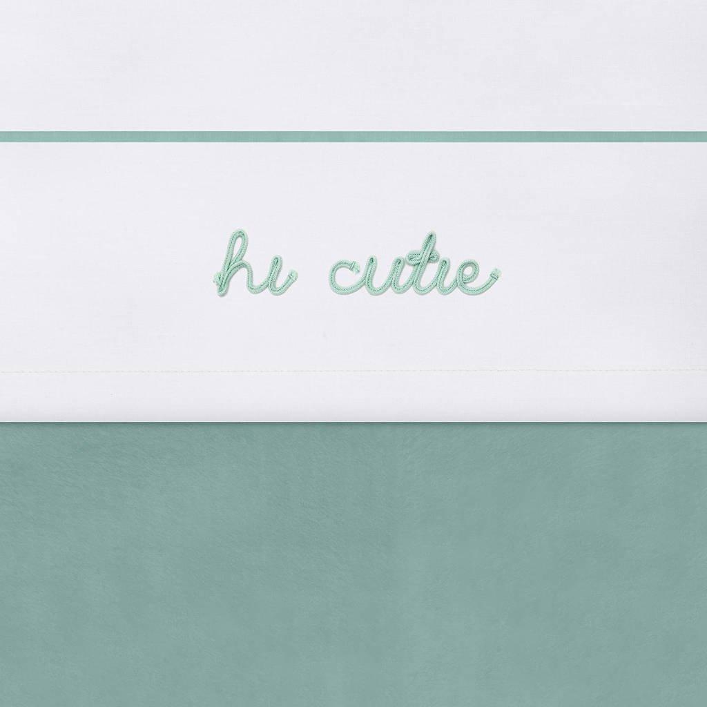 Jollein baby wieglaken 75x100 cm Hi cutie ash green, Wit/groen