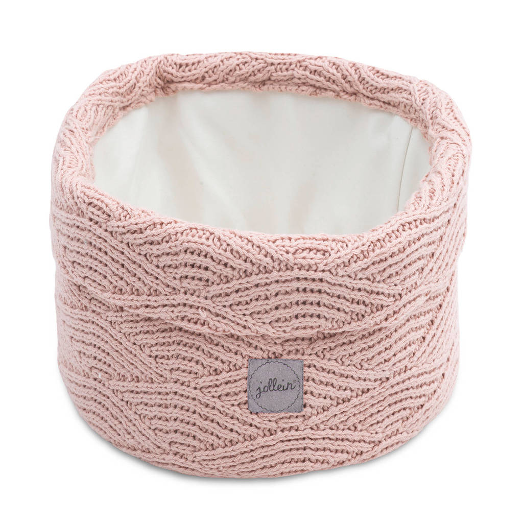 Jollein opbergmand River knit pale pink 14xØ18, Roze